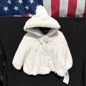 Toddler White Faux Fur Teddy Coat With Hood NWT